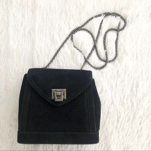 Frenchy California Vintage Black Suede Crossbody